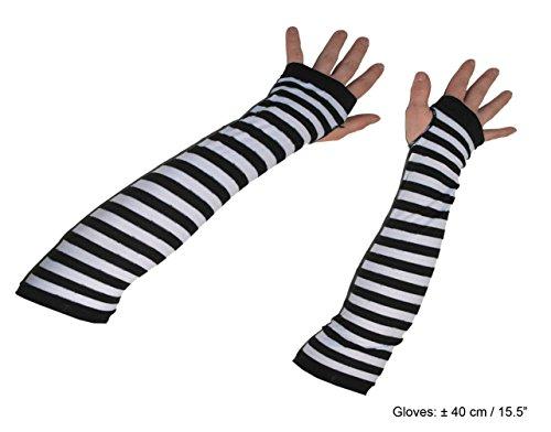 Karneval-Klamotten Handschuhe ohne Finger schwarz weiß Alice im Wunderland Karneval ()