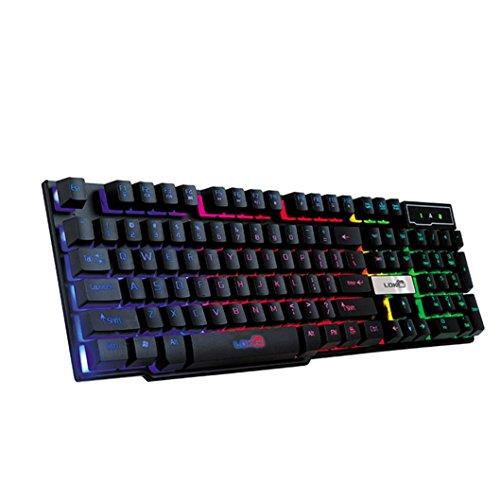 Mamum in 7Farben leuchtende professionelle Gaming-Tastatur,  mit LED-Hintergrundbeleuchtung und USB-Anschluss, Regenbogen-Tastatur. Einheitsgröße Schwarz  -