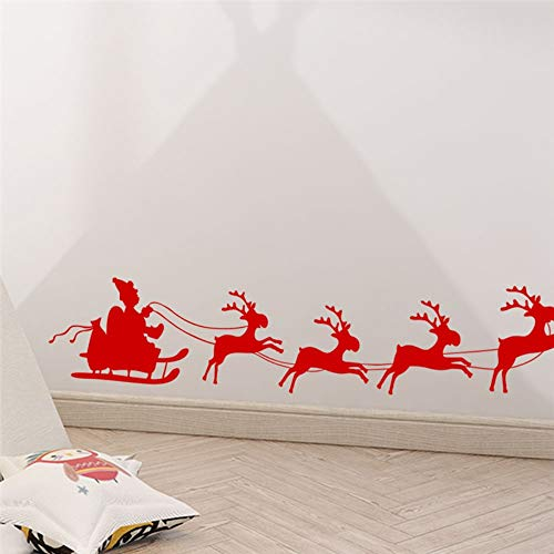 Happy Year Santa Claus Reindeer Wall Decals Bedroom Shop Window Home Decor Merry Christmas Wall Stickers Vinyl Mural Art