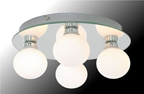 Marco Tielle Hollywood Globe 4 Light Bathroom Mirrored Ceiling Light With White Opal Glass Shades