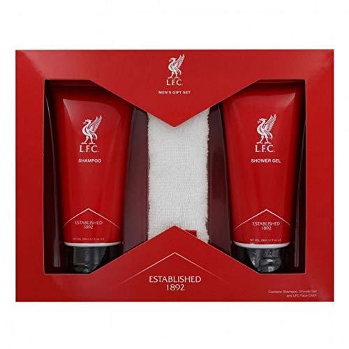 FC Liverpool Körperpflegeset 3-teilig für Männer (Shampoo, Duschgel, Seiftuch) LFC - Plus Aufkleber Wir lieben Fußball