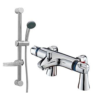 ENKI Modern Thermostatic Bath Mixer Taps Shower Slider Tall Deck Mounted Chrome