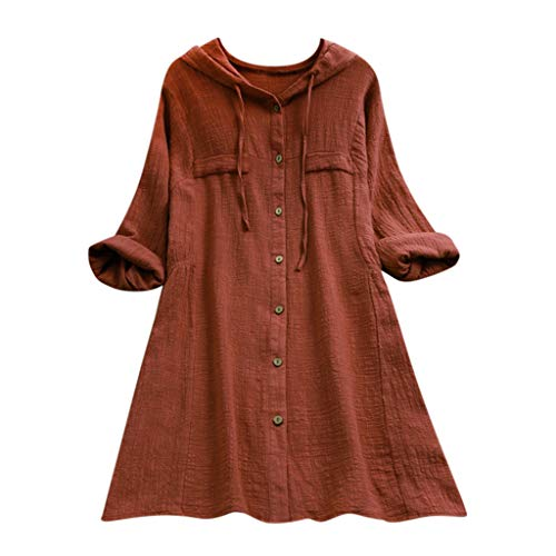 IZHH Damen Vintage Shirt, Plus Size Einfarbig Baumwolle Und Leinen Tops T Shirt Mit Kapuze Tasche Lose Bluse LäSsige Taste Tunika Pullover (Kaffee,M)