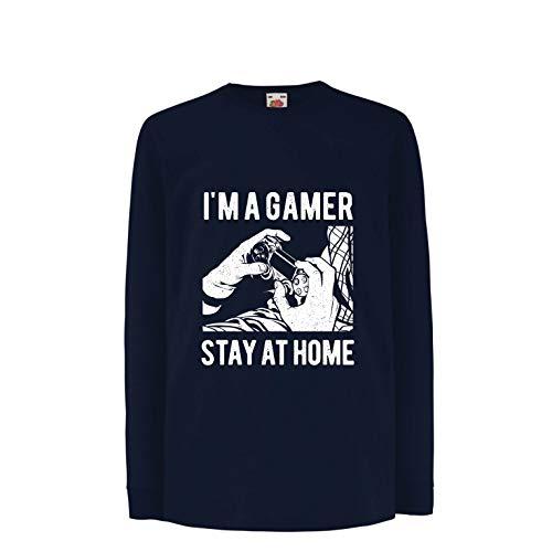 (lepni.me Kinder-T-Shirt mit Langen Ärmeln Ich Bin EIN Gamer - bleib zu Hause, Slogan für Videospielsucht (14-15 Years Blau Mehrfarben))