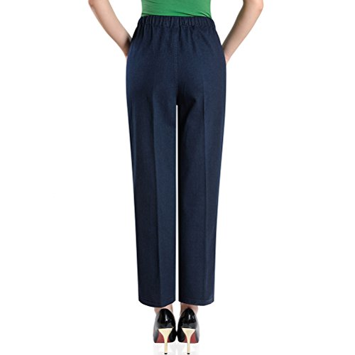 Zhhlaixing XXXXXL Middle - aged Jeans Donna Vita Alta Straight Embroidery Pantaloni Women Elasticizzati Waist Mother Pants Blue&Blue