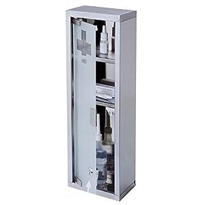 Multistore 2002 Medizinschrank 15x45x12cm Arzneischrank Hausapotheke Erste Hilfe Medikamentenschrank Verbandschrank Badschrank Wandschrank mit Tip-on Automatik Edelstahlkorpus mit Glasfront
