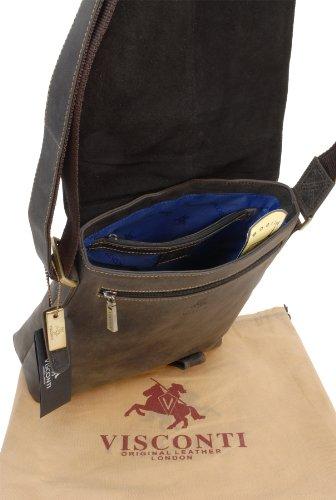 Visconti Leder Hunter Umhängetasche iPAD/KINDLE (16071) - Größe: B: 25.5 H: 27.5 T: 8.5 cm Öl Braun
