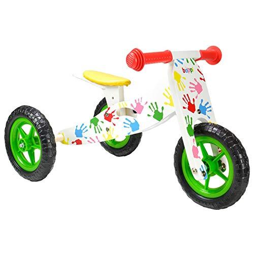 boppi® 2 in 1 Triciclo in Legno - Bici Senza Pedali - Bianca Mani Stampate