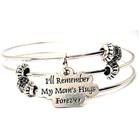 I'll Remember My Moms Hugs Forever Triple Style Bangle American Made by ChubbyChicoCharms