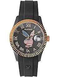 Playboy USA38BG - Reloj analógico de cuarzo unisex, correa de silicona color negro