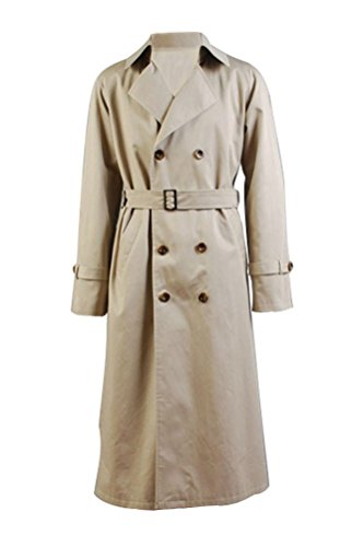 Tiny Time Herren Halloween Cosplay Kostüm Castiel Twill Trench Mantel Cosplay Kostüm (Supernatural Castiel Kostüm)