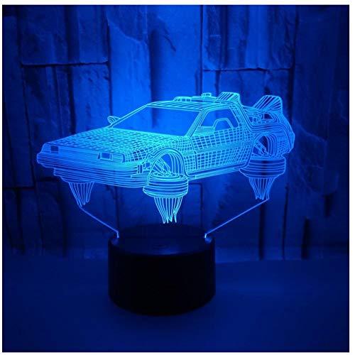 Illuminazione Touch dimmerabile USB Illuminazione interna Forma auto Piccola luce notturna Novità Lampada da scrivania a 7 colori con luce notturna visiva 3D a 7 colo