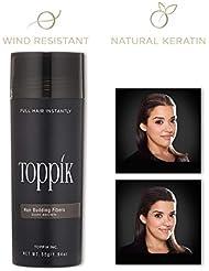 TOPPIK – Fibres Capillaires – Application facile - Kératine naturelle – Densifier racines cheveux, masquer calvitie, perte de cheveux et Alopécie – pour homme et femme - 55g - Brun