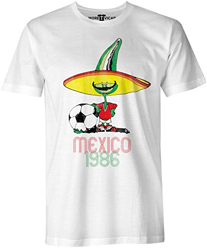 More T Vicar Retro Pique Mexico 86 - Distressed Print Herren Football World Cup T Shirt (Mexico Cup World)