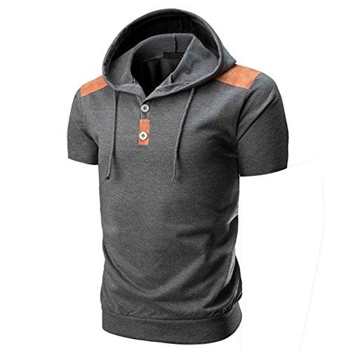 GreatestPAK T-Shirt Knöpfe mit Kapuze Sweatshirt Herren Frühling Sommer  Kurzarm Tops Bluse,Grau,M c3d16b216d