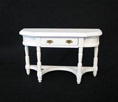 Beistelltisch halbrund weiss Puppenhausmöbel Miniaturen 1:12 - Beistelltisch Antik Weiß