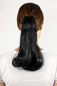 Haarteil Zopf schwarz glatt Haarverlängerung rund 35cm