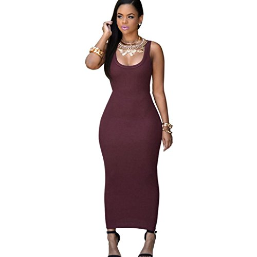 Bovake Frauen Sommer Bandage Bodycon Party Cocktail Maxi langes Kleid (M, Wine (Red Kleid Flapper Mode)