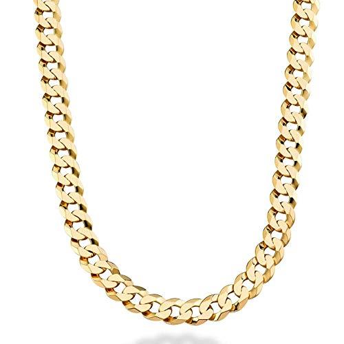 Halskette, Panzerkette, 9mm, 18Kt Gold, Diamantschliff,aus den USA (14k Seil-hand-kette Gold)