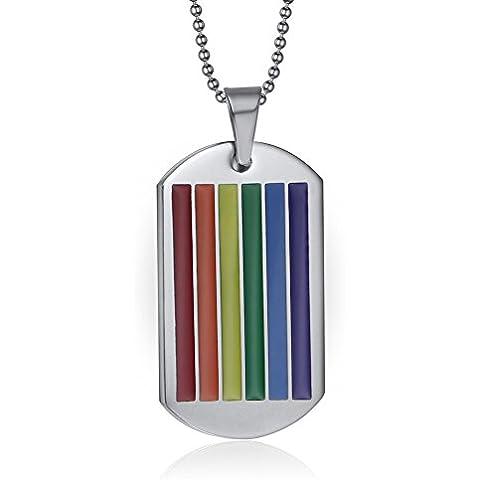 LianDuo Gay Lesbiche LGBT in acciaio inox Rainbow Flag Orgoglio gioielli Dog Tag ciondolo collana,catena