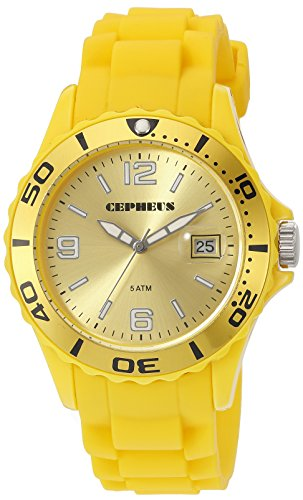 CEPHEUS Herren-Armbanduhr XL Analog Quarz Silikon CP603-090C-1