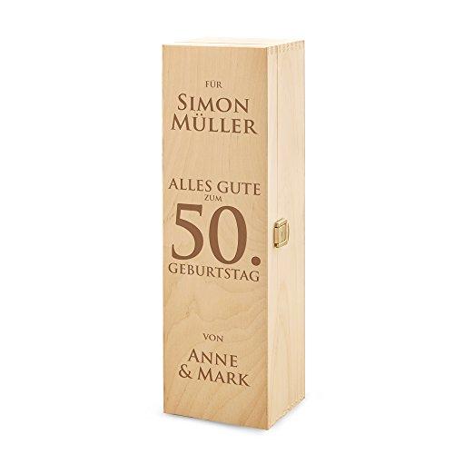 Casa Vivente AMAVEL Weinbox aus Holz, Alles Gute zum Geburtstag, Personalisiert mit Namen, Verpackung für Weingeschenke