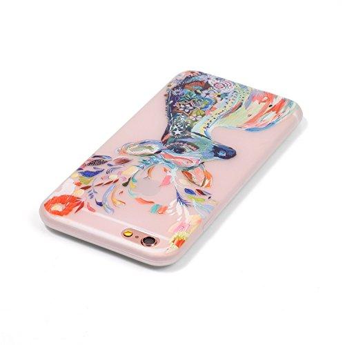 iPhone 6 6S (4,7 Zoll) Hülle,iPhone 6 6S (4,7 Zoll) Case,Cozy Hut ®TPU Leuchtende Nacht Silikon Schutzhülle Handyhülle Painted pc case cover hülle Handy-Fall-Haut Shell Abdeckungen für iPhone 6 6S (4, Aquarell Hirsch