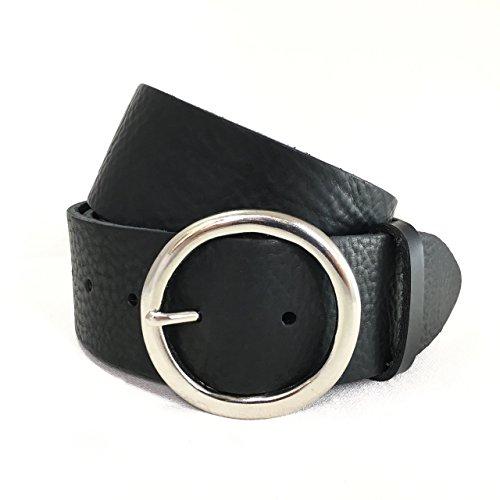 Breiter Schwarzer Ledergürtel - Silberne Runde Schnalle - Schwarzes Italienisches Leder - für Herren - Breiter Gürtel für Damen - Handgefertigt in London, England - 2 Zoll ca. 5cm - Silberfarbene Kreisschnalle - Runde Schnalle - Lederriemen ist auch in Dunkelbraun, Hellbraun, Weiß oder Blau erhältlich