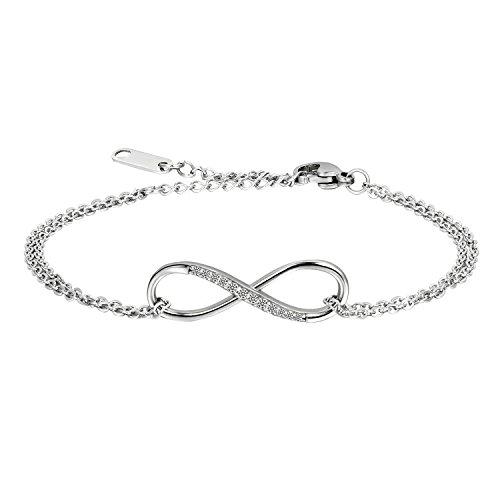 Oidea Bracelet Chaîne de main Femme Sympole Infini Infinity Amour Acier Inoxydable Zircon Brillant Cadeau d'anniversaire Valentin Mariage