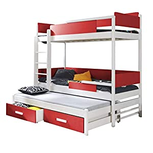 Ye Perfect Choice TRIPLE BUNK BED Quatro Modern High Bed DRAWERS Ladder 3 children TRUNDLE Bed FAST Delivery