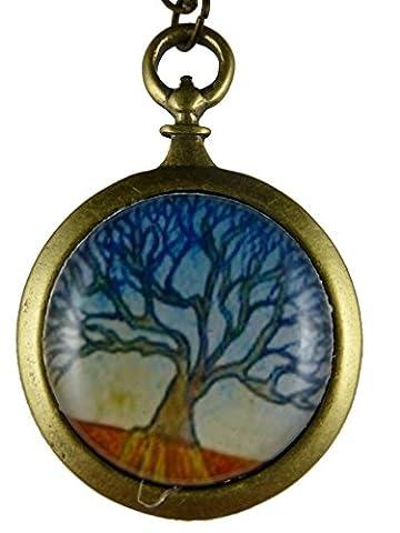 Kette Halskette messingfarben Vintage Taschenuhr Silhouette Gemälde Bild Dame Baum mit Blättern 790