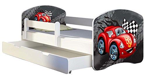 Kinderbett Jugendbett mit einer Schublade und Matratze Weiß ACMA II 140 160 180 40 Design (140x70 cm + Bettkasten, 04 Rote Auto)