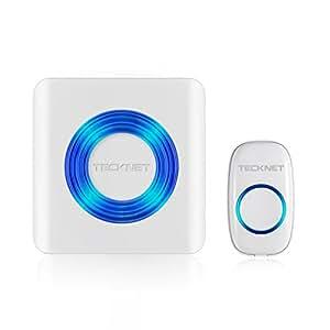 Sonnette de Porte Étanche TeckNet Wireless Doorbell Kit de Carillon Portable Sonnerie Sans Fil de 300m avec 58 Mélodies, Transmetteur étanche IP55, 4-Niveaux Volume, Flash LED pour Maison, Bureau et Boutique