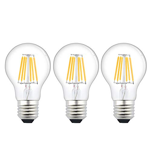 Lamapdine E27 LED, Bassa Tensione AC/DC 12V-24V Bianco Caldo 3000K 6W 600lm A60 Lampada Filamento a LED Edison ES Vinatge Incandescenza 60W Equivalente, CRI 80+ per RV Camper Marine (Pezzi da 3)