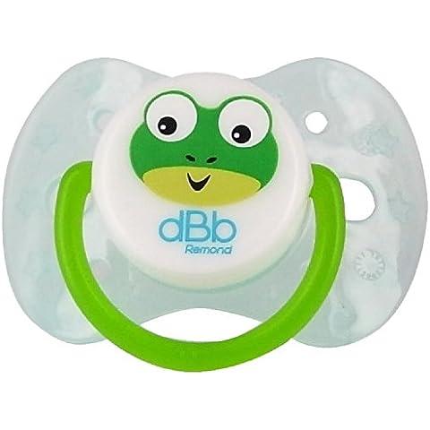 DBB Remond 171506 a 2 Paquete Chupete anatómico, de 0 a 6 meses, de silicona, la razón: rana, de color: azul transparente