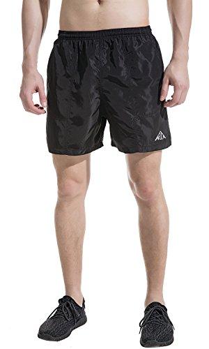 Akula Herren Workout Shorts Badeshorts Strand Shorts Lässige Boardshorts Surf Shorts mit Taschen Schwarz Größe L (Herren Shorts Surf)