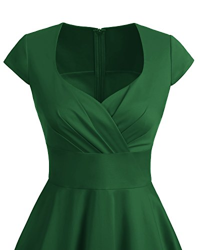 Bbonlinedress 1950er Vintage Retro Cocktailkleid Rockabilly V-Ausschnitt Faltenrock Green