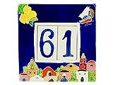 fd-bolletta arredamento e illuminazione Numeri civici in Ceramica con Numeri e Lettere da collocare nell'apposita Cornice,Targa con civici e Lettere,mattonella a 2 posti da Esterno Colorata a Mano