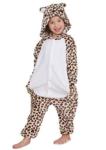 Jumpsuit Onesie Tier Karton Fasching Karneval Halloween Kostüm Kinder Mädchen Junge Kigurumi Sleepsuit Overall Pyjama Unisex Lounge Cosplay Schlafanzug, Leopard ()