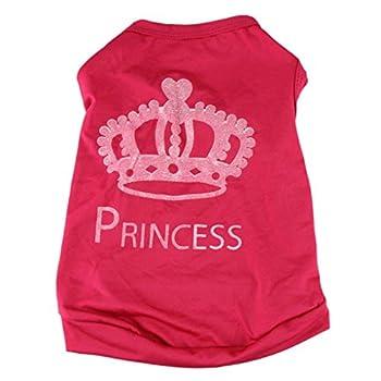 Bluestercool Pet Chien Cute Princesse T-shirt vêtements Vest été manteau Costume (Rouge, M)