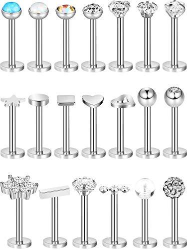 20 Stücke 16G Stecker Edelstahl Knorpel Ohrringe Helix Tragus Nsenstecker Lippen Piercing Schmuck für Damen Mädchen (Silber)