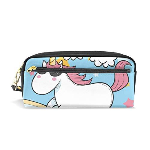 Federmäppchen für Studenten, Einhorn mit Sonnenbrille, Regenbogensterne, PU-Leder, Organizer, Stifthalter für Damen, wasserdicht, große Kapazität, Mini-Make-up-Tasche