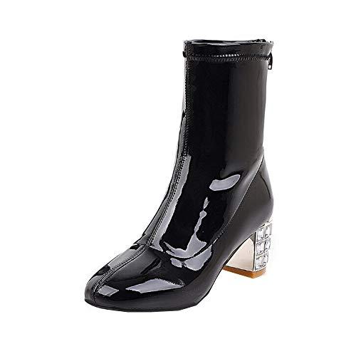 Damen Stiefel Mumuj Sale Elegante Lackleder Blockabsatz Reißverschluss Mittelstiefel High Heel Anti Skid Schuhe Wasserdicht Einzelne Schuhe