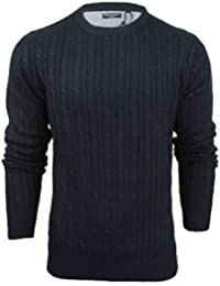 Brave Soul Mens Jumper by Mao' Cable Knit Crew Neck