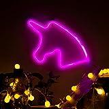 LED Rosa Einhorn Neonlicht-Zeichen, Luohaoshi Neon Pink Einhorn Wandschild, Raumdekor Beleuchtung für Kinderzimmer, Weihnachten, Neujahr, Batterie & USB-Betrieb Nachtlicht (Einhorn)