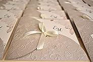 PARTECIPAZIONI NOZZE invito matrimonio tema mare in carta perlata Sabbia - 10 pezzi