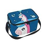 Folpply cute Cartoon Unicorn con palloncino per il pranzo, cerniera borsa frigo termica, scatola per il pranzo pasto Prep borsetta per picnic scuola donne uomini bambini