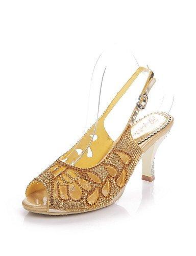 UWSZZ IL Sandali eleganti comfort Scarpe Donna-Sandali-Formale / Casual / Serata e festa-Tacchi / Spuntate-A stiletto-Di pelle-Nero / Rosso / Dorato Black