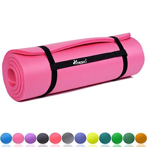 TRESKO Fitnessmatte Yogamatte Pilatesmatte Gymnastikmatte 6 Farben/Maße 185cm x 60cm in 2 Stärken/Phthalates-getestet/NBR Schaumstoff/hautfreundlich, kälteisolierend (Pink, 185 x 60 x 1.5 cm)
