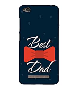 Best Dad Red Bow 3D Hard Polycarbonate Designer Back Case Cover for Redmi 4 :: Xiaomi 4